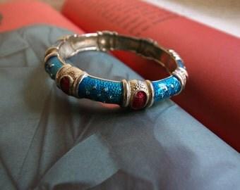 Vintage Blue & Red Enamel Hinged Clamper Bangle/Bracelet - 1980s