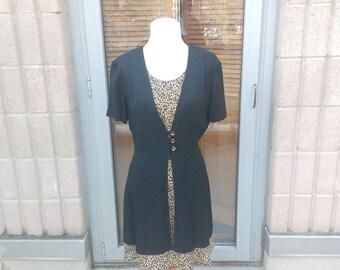 Brown Print Dress, Animal Print Dress, Leopard Print Dress, 90s Tie Back Dress, Black Layered Dress, Short Dress, Dawn Joy Fashions