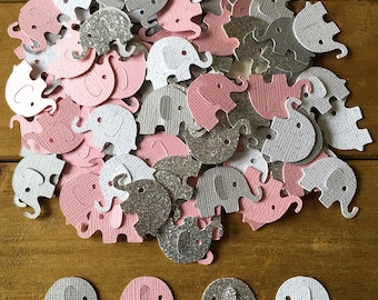 100 Pink and Gray Elephant Confetti, Silver Elephant, elephant baby shower confetti, It's a Girl, elephant decoration, girl baby shower