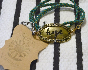 Wrap Bracelet: Hope in Gold and Teal