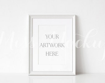 A4 DIGITAL White Frame Mockup (Portrait) - Stock Photo, Styled Photography, Mock up, prints, illustration, INSTANT DOWNLOAD
