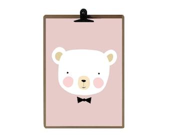 Bear nursery print - Pink color Nursery art prints - baby nursery decor - nursery wall - Children Art - Kids Room