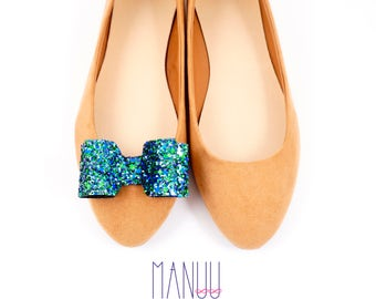 Glitter bows shoe clips - handmade clips Manuu, glitter bows, shoe accessories, shoe jewelry, green bows, navy bows