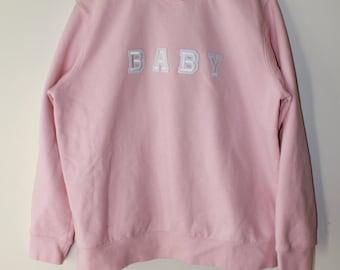 BABY handmade baby pink cotton crewneck sweater size XL
