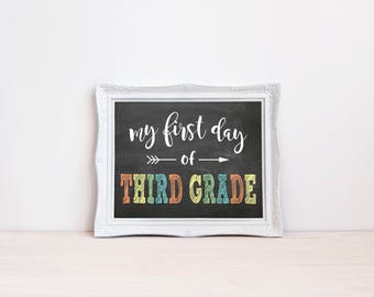 "First Day Of Third Grade Chalkboard Sign || 8""x10"" DIGITAL DOWNLOAD First Day Of School Chalkboard Printable 