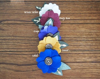 Single Flower Infant Baby Toddler Head Band or Clip Accessory in fall colors