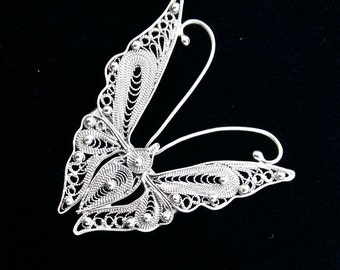 Sterling Silver Brooch Mariposa Filigrana, Butterfly Brooch, Filigree Brooch, Filigrana Cordobesa, Traditional Crafts, Handmade, Gift Idea