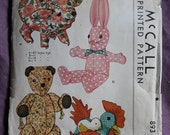 Adorable Country Chic Vintage 1940s Stuffed Animals Pig Teddy Bear Rabbit Bunny Chicken Hen McCall 893 Sewing Pattern UNCUT and Complete