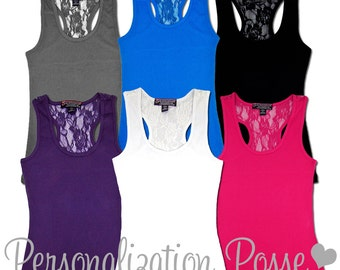 Personalized Tank Top, Customized Tank Top, Rhinestone Embellished Lace Racerback Tank, Bling Bling Tank Top, Custom Shirt, Lace Tank Top