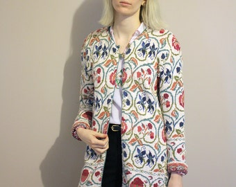 Vintage 'Past Times' Floral Tapestry Cotton Knitted Cardigan - Small