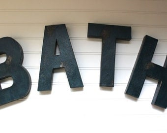 Bath Sign Bathroom Wall Decor Navy Bathroom Rustic Bathroom Wall Decor Rustic