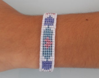 Friend ship bead loom cuff, Boho woven bracelet, Blue and White friendship cuff, Gift for her