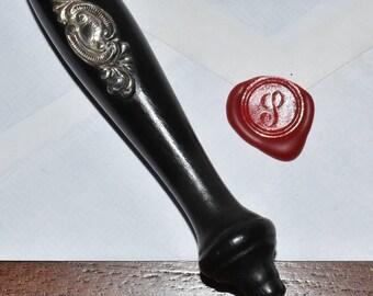 "Vintage Old English Letter ""J"" Wax Seal Stamp Ebony Wood Sterling Silver & Metal"