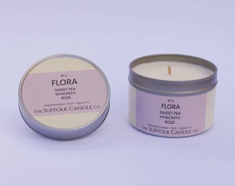FLORA - Sweet Pea, Hyacinth and Rose - handmade scented candle 100% soy wax in a tin 100g