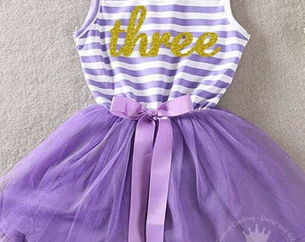 Third birthday three year old baby girls tutu dress party outfit 3rd bday, birthday dress,Purple and Gold