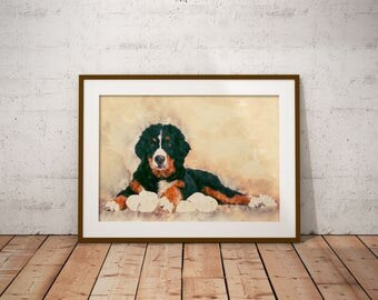Bernese Mountain Dog Art Print Big Dog Portrait Custom Dog Painting Watercolor Painting of Dog Pastel Dog Art on Canvas Dog Giclee Print