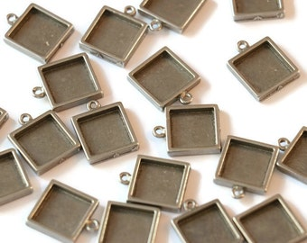 Piece of pewter pendant square for making jewelry LoB-101 (20 pieces)