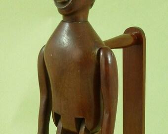 Antique Folk Art Jigger Toy Limberjack Articulated Dancing Carved Wooden Man Doll
