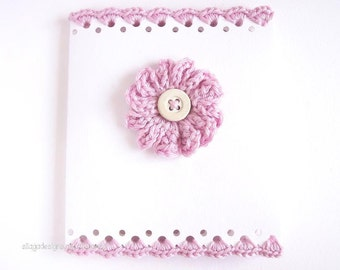 3D Crochet flower card, Crocheted greeting cards, Wedding stationery, Birthday card, Mother's Day card, pink crochet card, scalloped card
