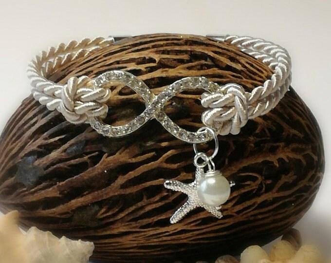 Infinity bracelet, Starfish bracelet,Bridesmaid jewelry, Beach Wedding bracelet, Nautical bracelet,infinity bracelet with pearl