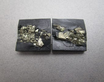 Pyrite in Slate Cabs / Pair of Slate and Pyrite for Cufflinks