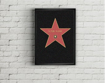 Hollywood Star nad your name, Printable, Digital Art,, Gift Idea.