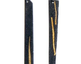 long post earrings, long geometric earrings, black and gold long earrings, modern long earrings, unique texture earrings, black earrings