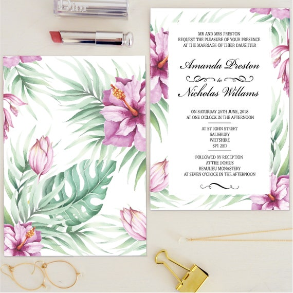 Tropical wedding invitation UK, destination wedding invitation suite, watercolour wedding invitation floral, modern wedding invitation kits