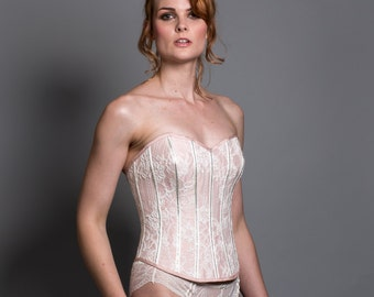 Pink Silk Lace up Corset with french lace overlay