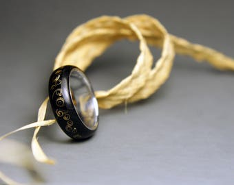 Wooden Ring   Ebony And Silver Ring With Brass Inlays   Handmade Ring