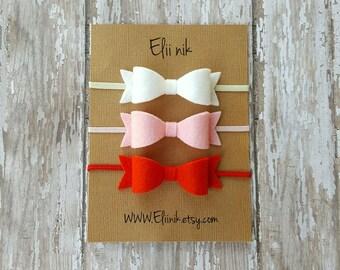 Baby bow headband, baby headband, baby-girl headband, Newborn headband, bow headband, bow headband set, felt baby bow headband, red bow