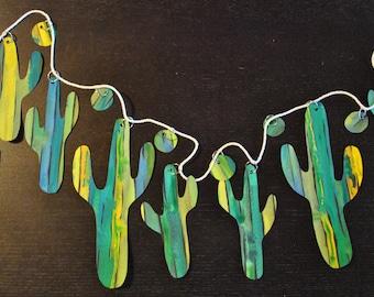 Watercolor Cactus Garland-Cool Colors on Black Paper