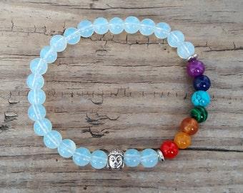Buddha 7 chakra bracelet moonstone bracelet 7 chakra healing bracelet buddha energy bracelet good luck bracelet meditation bracelet mala