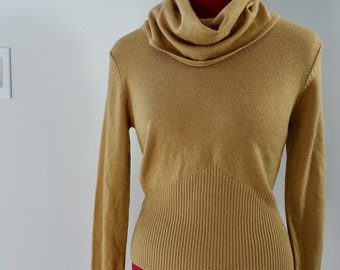 90s Camel Knit Turtleneck Brown Khaki Ribbed Thick Banded Cowlneck Vintage Winter Sweater Retro Womens Size Medium M