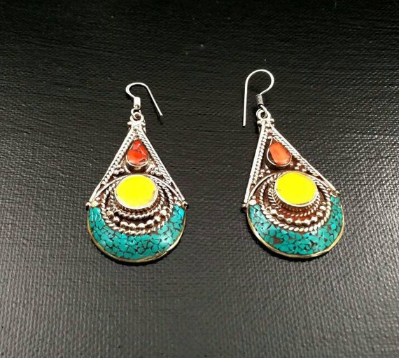 Vintage handmade earrings afghan kuchi tribal jewelry boho for East indian jewelry online