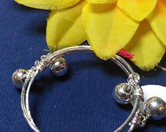 Baby anklet, toddler anklet, baby ankle bracelet, 925 Sterling silver anklet, bell bangle
