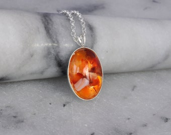 Sterling Silver Necklace- Carnelian Necklace- Carnelian Resin Pendant- Carnelian Jewellery- Orange Gemstone Necklace- Handmade- N110