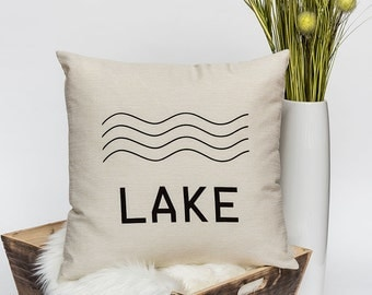 """LAKE - Throw Pillow, Decorative Pillow, Accent Pillow - 18"""" x 18"""" in Light Flax, Light Grey or Cream"""