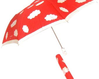Courreges Paris Rare Mod Cloud Theme Umbrella. 1970's.