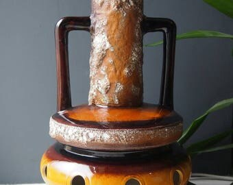vintage german style pottery fat lava table lamp large brown treacle glazed floor lamp
