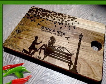 Wedding cutting board, Couple name cutting board, Wood cutting board, personalized Cutting Board, custom gift, Gift for couple L2-03-006