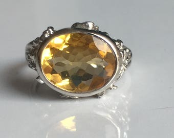 AAA quality natural citrine men ring in 925 sterling silver
