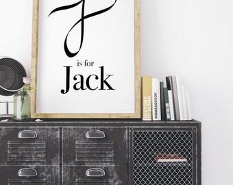 Jack, Calligraphy Print, modern calligraphy, Typography Print, Baby Boy Print, Typography Wall Art, Monogram Print, J Letter print