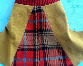 Red and Yellow Pieced Dog Wrap Sweater
