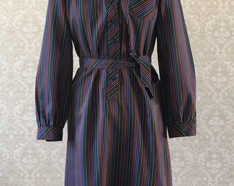 Winter Dress, Winter Dress Women, Shirt Dress, Vintage Shirt Dress, Striped Dress, Striped Shirt Dress, Long Sleeve Dress, Navy Blue Dress