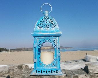 Beach Lantern Distress Lantern Wedding Lantern Beach Party Decor Nautical Lantern Wedding Centerpiece Hand Painting