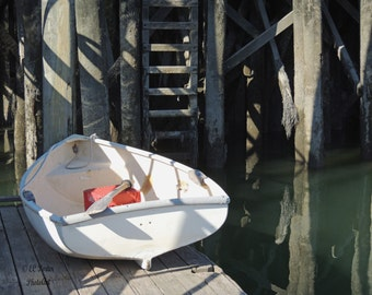 Small Dinghy near dock in Maine option #4