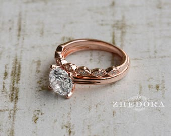 2.1 CT Brilliant Round Cut Solitaire Rose Gold Plated Art Deco Wedding Set .925 Sterling Silver Simulated Stones Engagement Ring Bridal Set