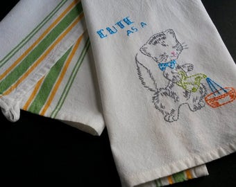 Hand embroidered cat embroidered tea towel, Vogart embroidery, cat kitchen decor,  kitchen decor towel