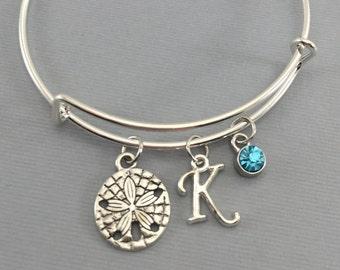 Sand Dollar Bracelet - Beach Charm Bracelet - Beach Wedding - Gift for her - Sand Dollar Jewelry - Charm Bracelet - Bangles - Gift for mom